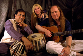 Photo of Arshad Syed, Patti Weiss, and Matthew Montfort with instruments